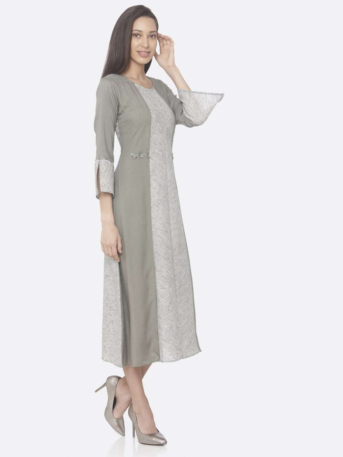 Right Side Grey Printed Rayon And Cotton A-Line Dress