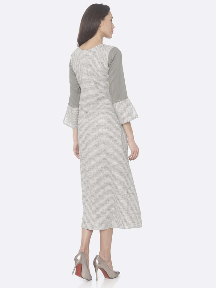 Back Side Grey Printed Rayon And Cotton A-Line Dress