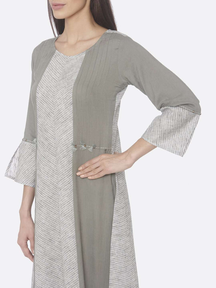Left Side Printed Rayon & Cotton A-Line Dress With Grey Color