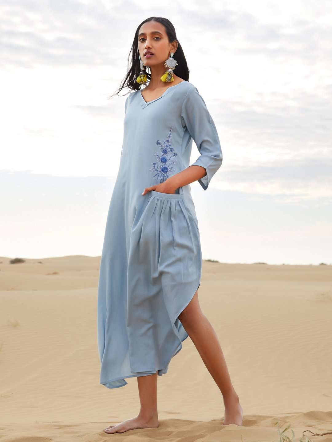 Sky Blue Embroidered, Plain Rayon A-Line Dress