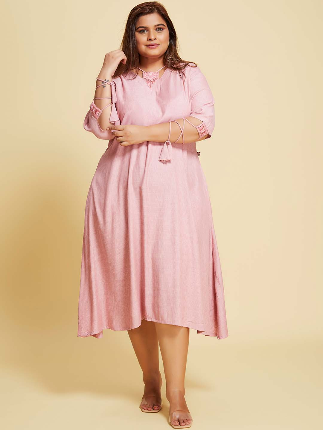 Pink Solid Cotton Viscose A-Line Dress Plus Size