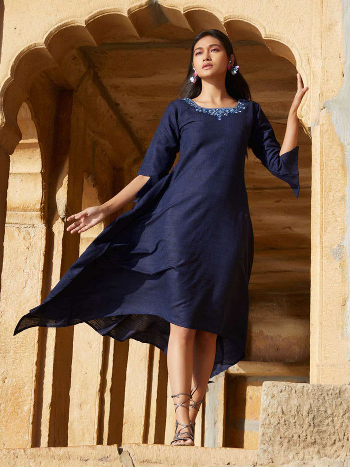 Front side Navy Embroidered cotton Asymmetrical Dress