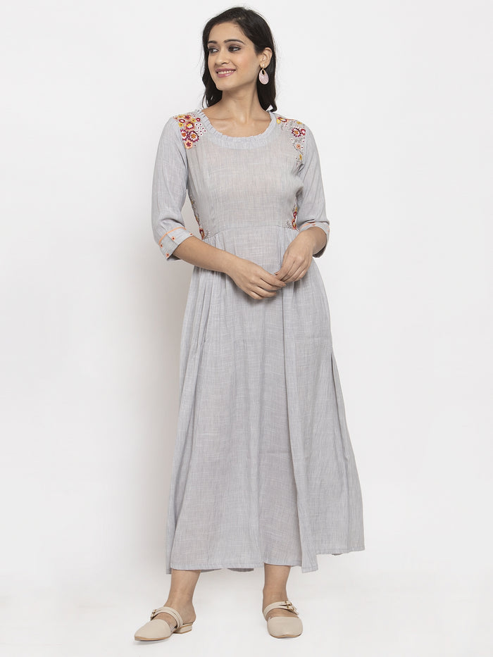Grey Embroidered Poly Viscose A-Line Dress