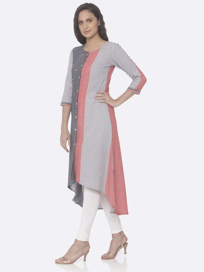 Left Side Grey Printed Weaving Cotton Up & Down Dress
