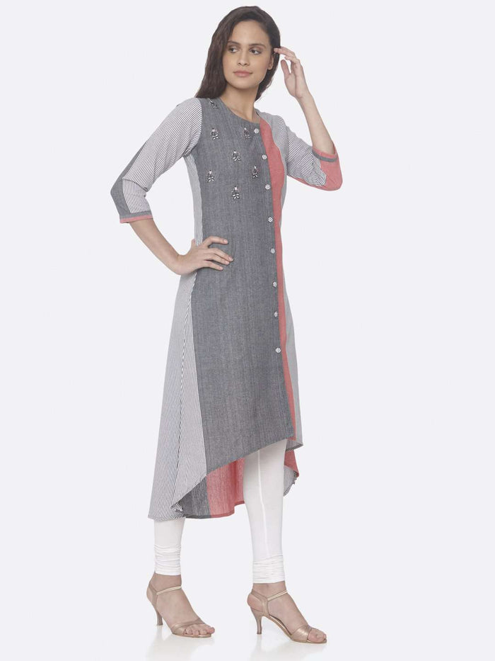Right Side Grey Printed Weaving Cotton Up & Down Dress