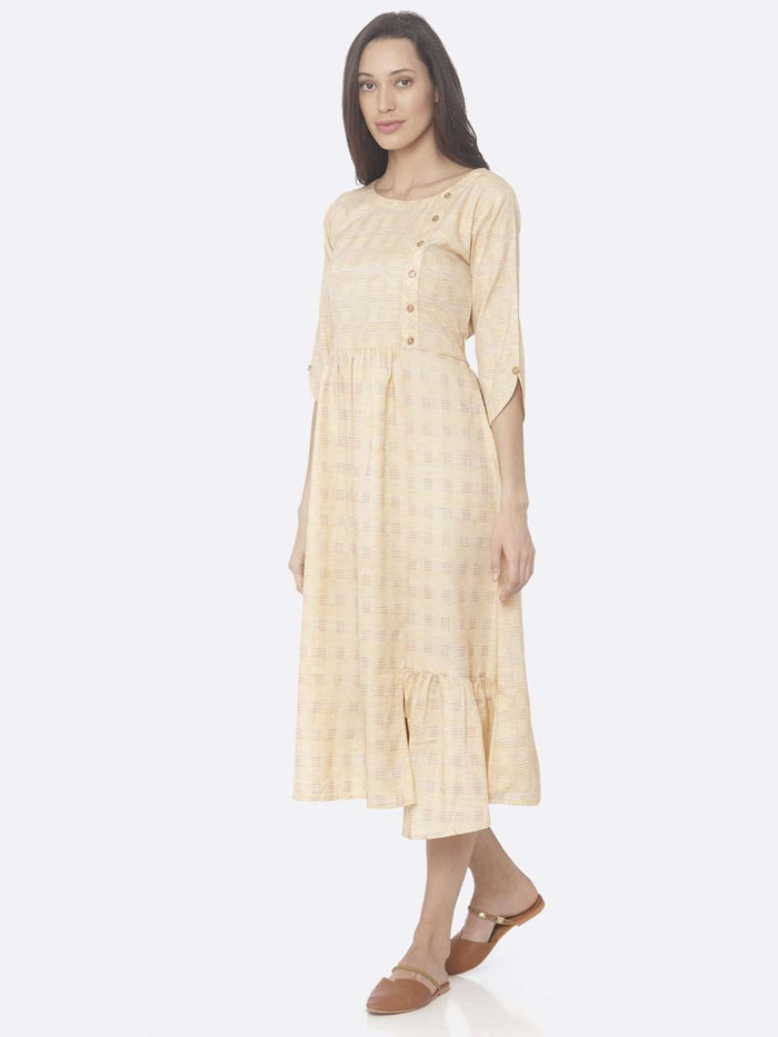 Left Side Yellow Printed Weaving Cotton A-Line Dress