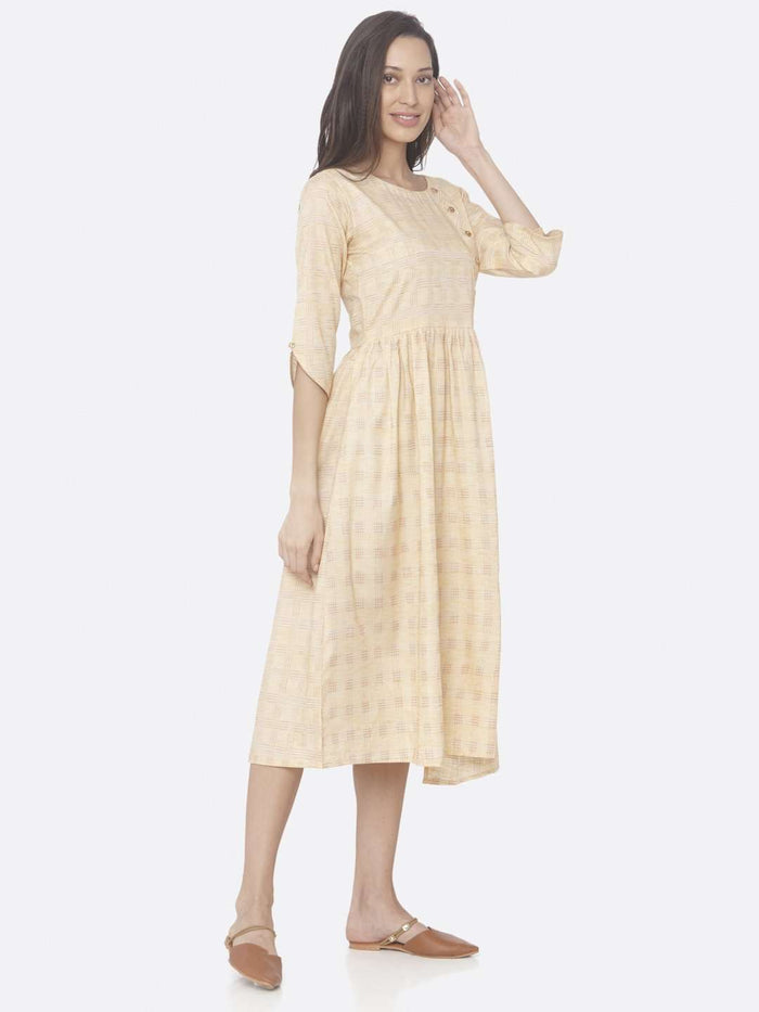 Right Side Yellow Printed Weaving Cotton A-Line Dress