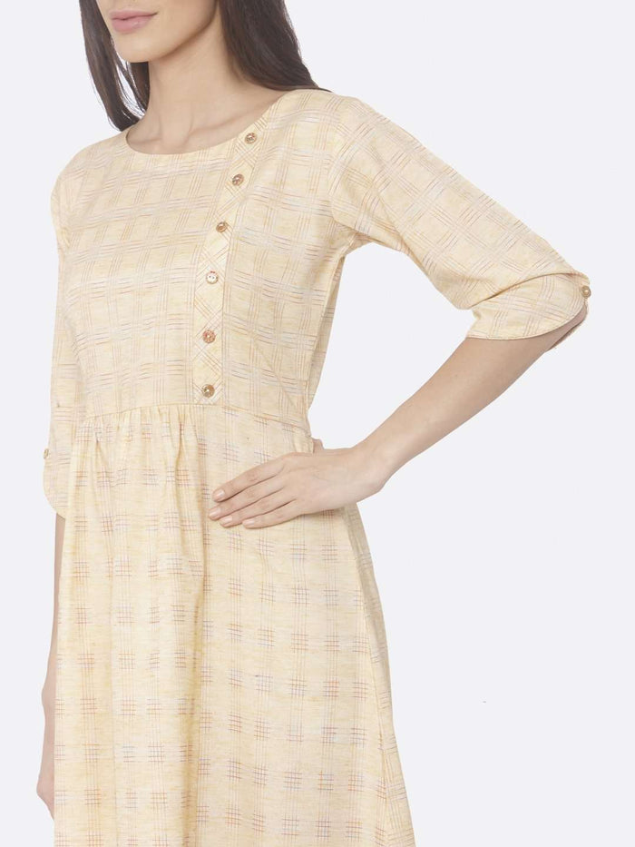 Left Side Printed Weaving Cotton A-Line Dress With Yellow Color