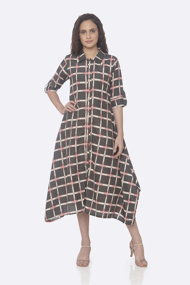 Front Side Black Printed Weaving Rayon Print A-Line Dress