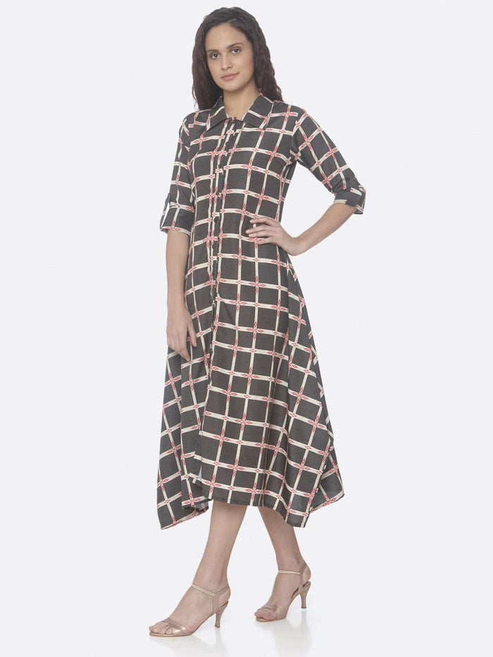 Black Printed Weaving Rayon Print A-Line Dress