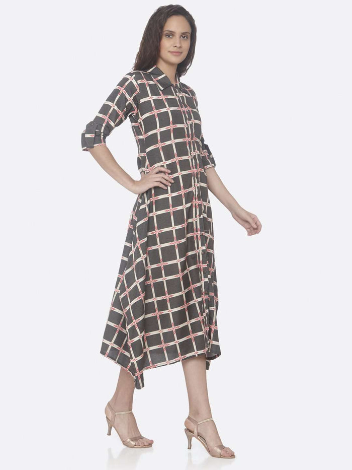 Right Side Black Printed Weaving Rayon Print A-Line Dress