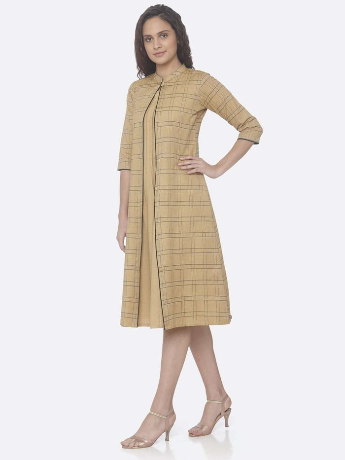 Beige Printed Cotton A-Line Dress side
