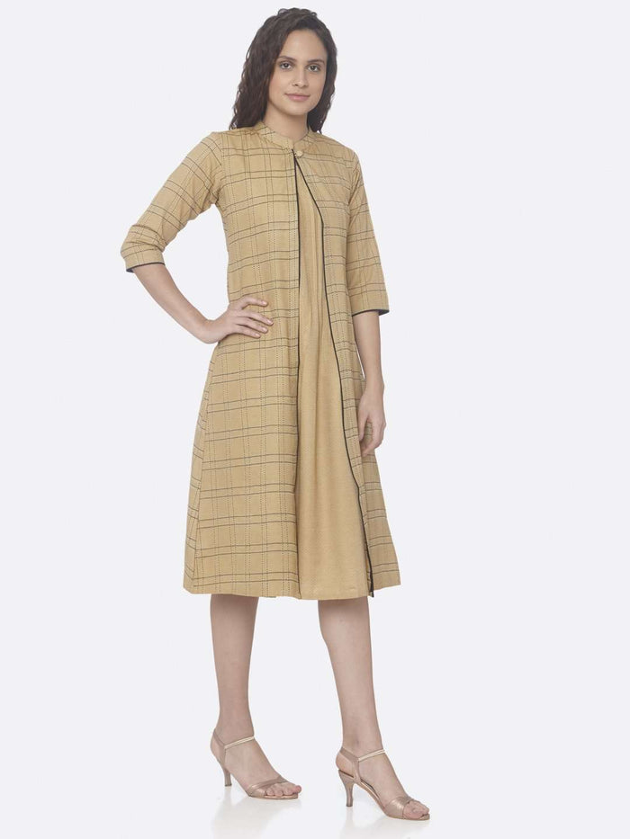 Beige Printed Cotton A-Line Dress right side