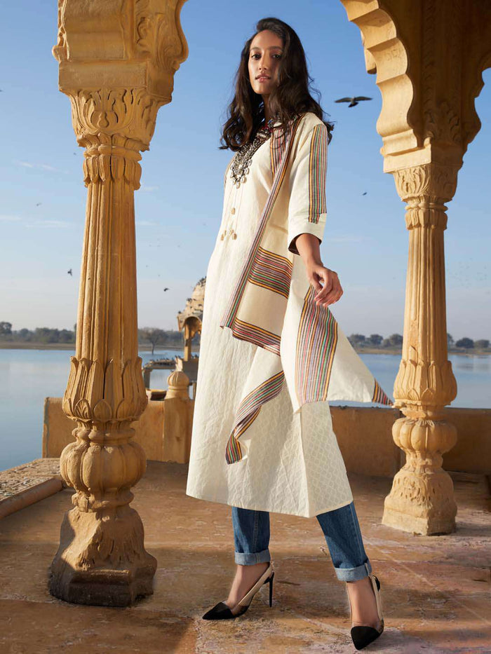 Cream Printed Cotton Asymmetrical Dress With Jacket