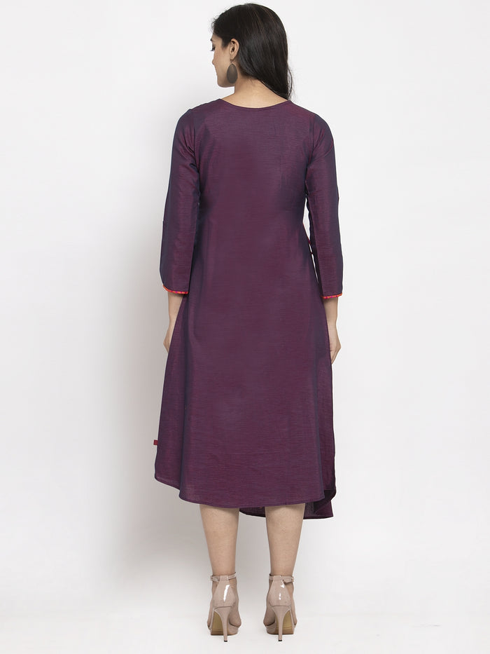 Purple Embroidered Silk A-Line Dress