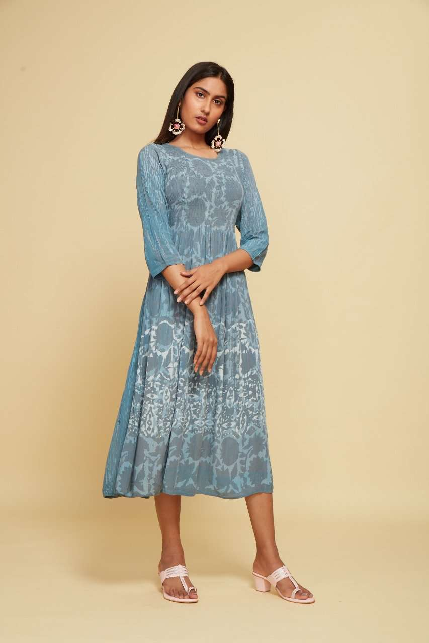 Blue Printed Rayon Crepe A-Line Flared Dress