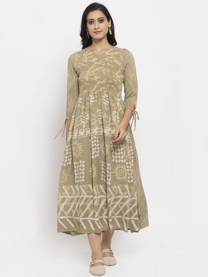 Beige Printed Rayon Crepe A-Line Flared Dress