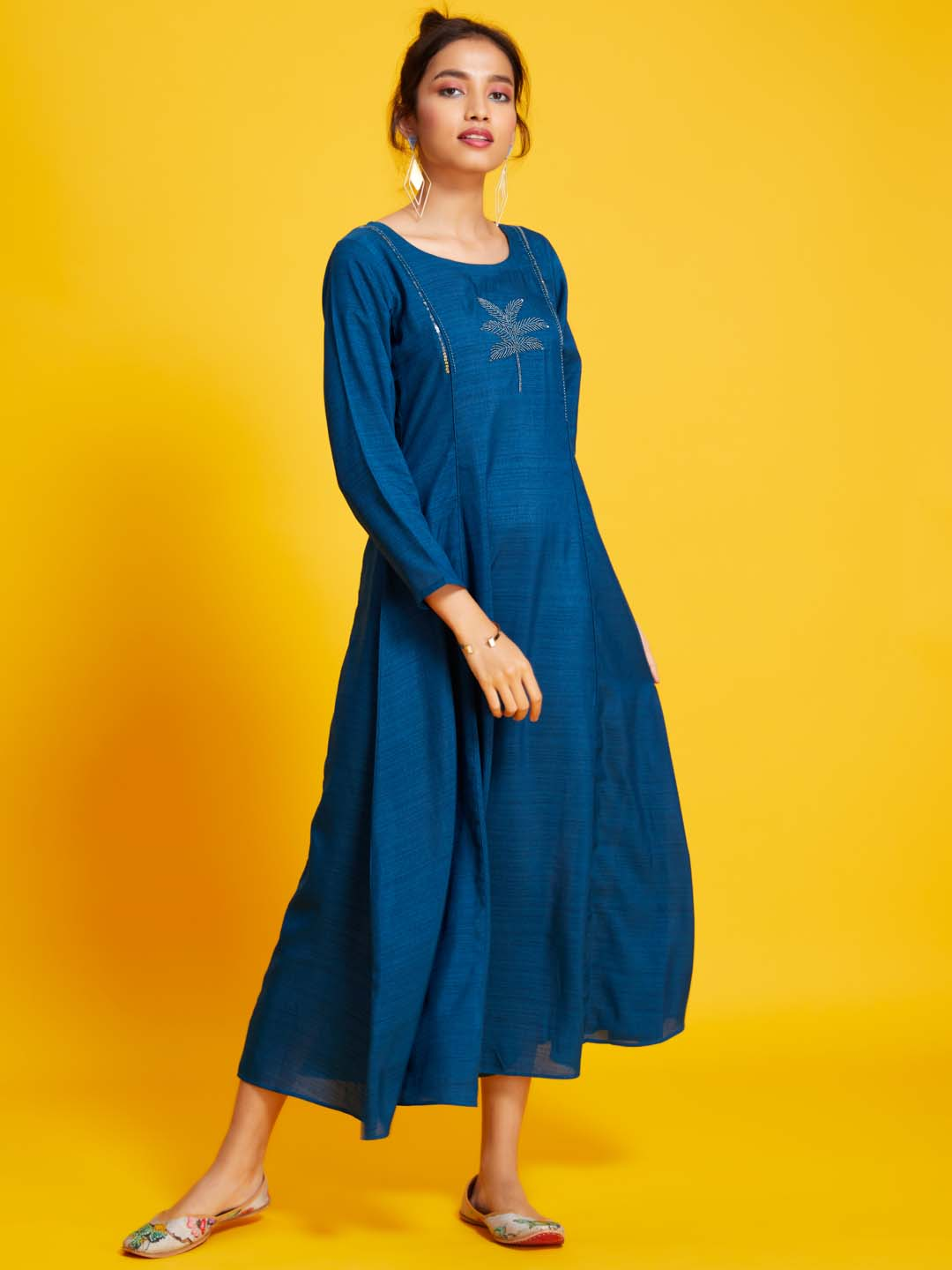 Teal Navy Embellished Cotton Silk A-Line Dress