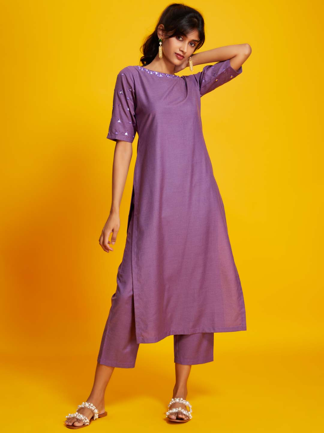 Front Side Solid Cotton Straight Kurta With purple colour
