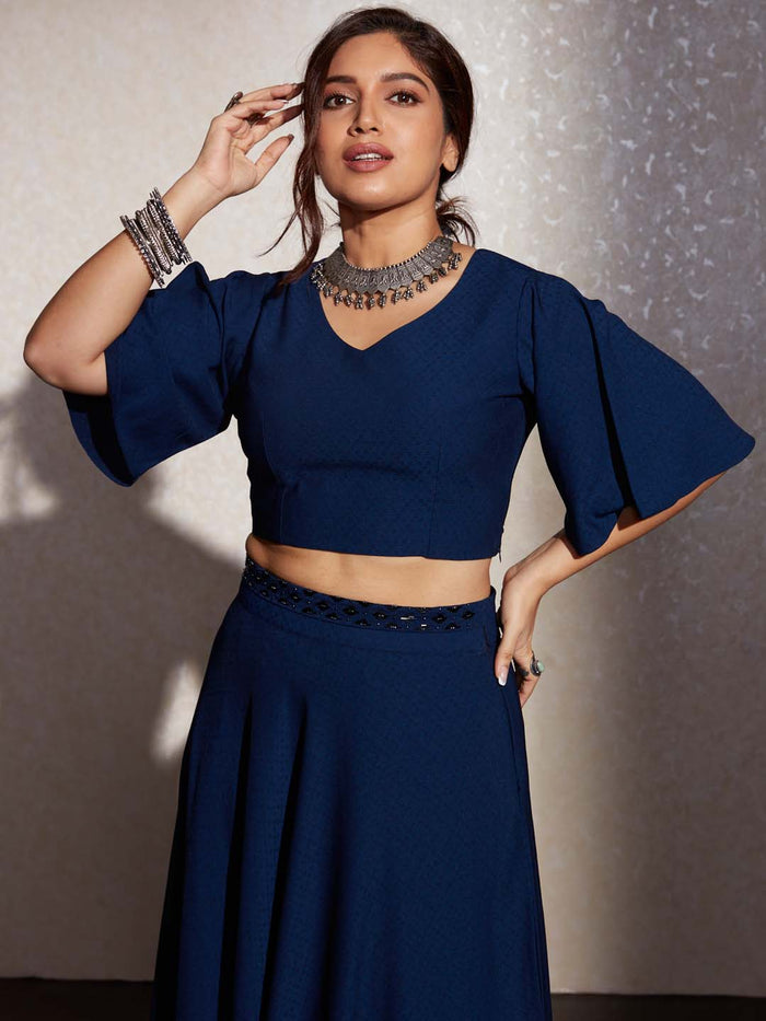 Navy Blue Solid Liquid Georgette Silk Crop Top With Skirt