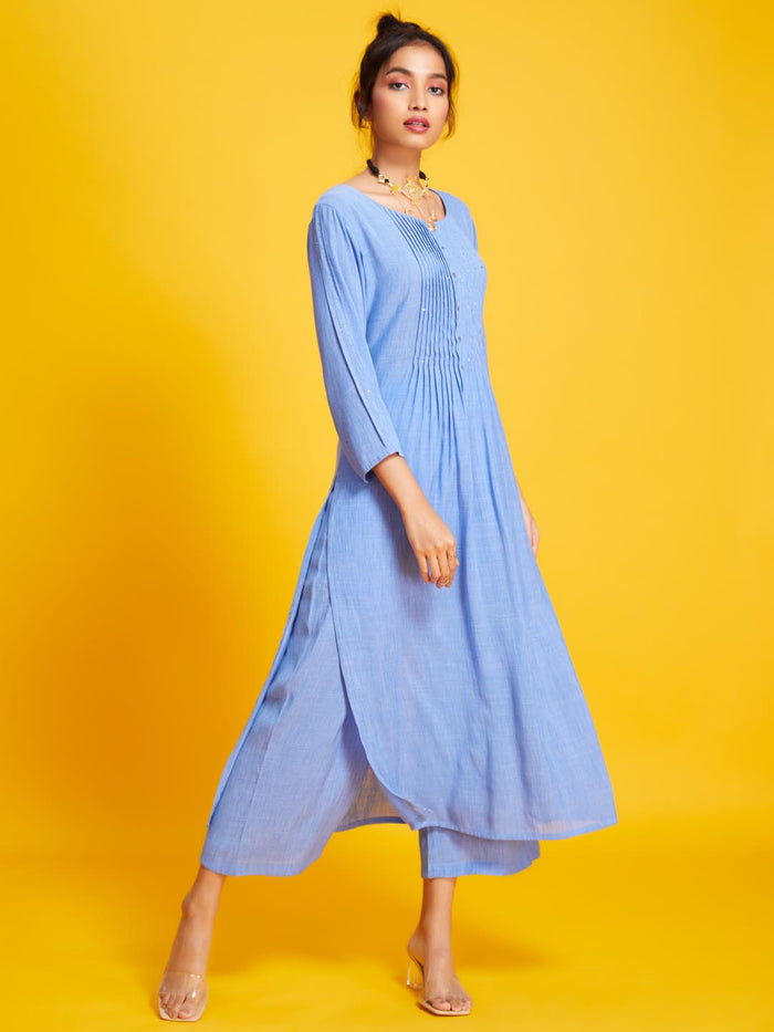 Sky Blue Solid Liquid Georgette Straight Kurta Set