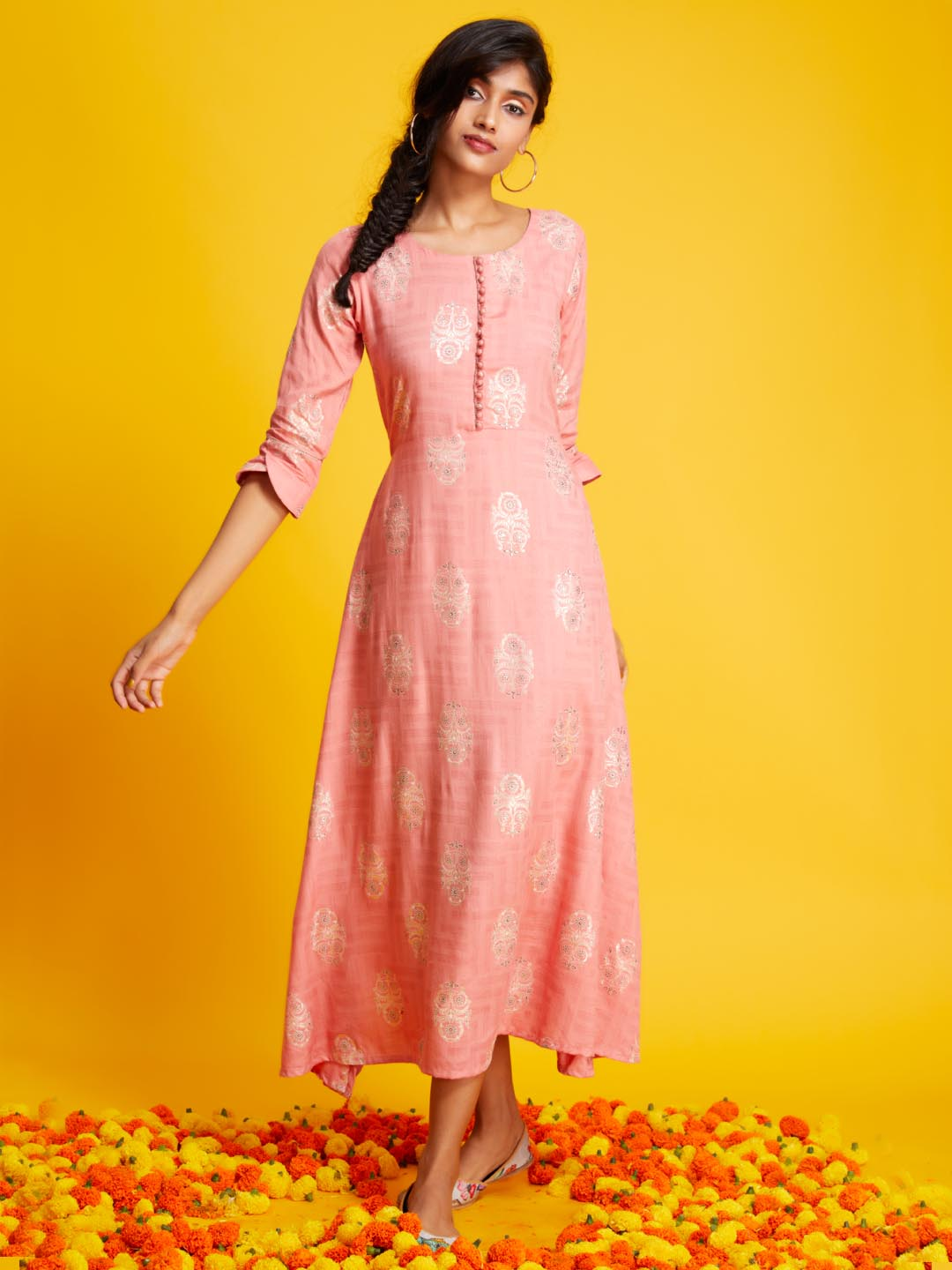 Front Side Printed Rayon A-line Kurti With Peach Colour