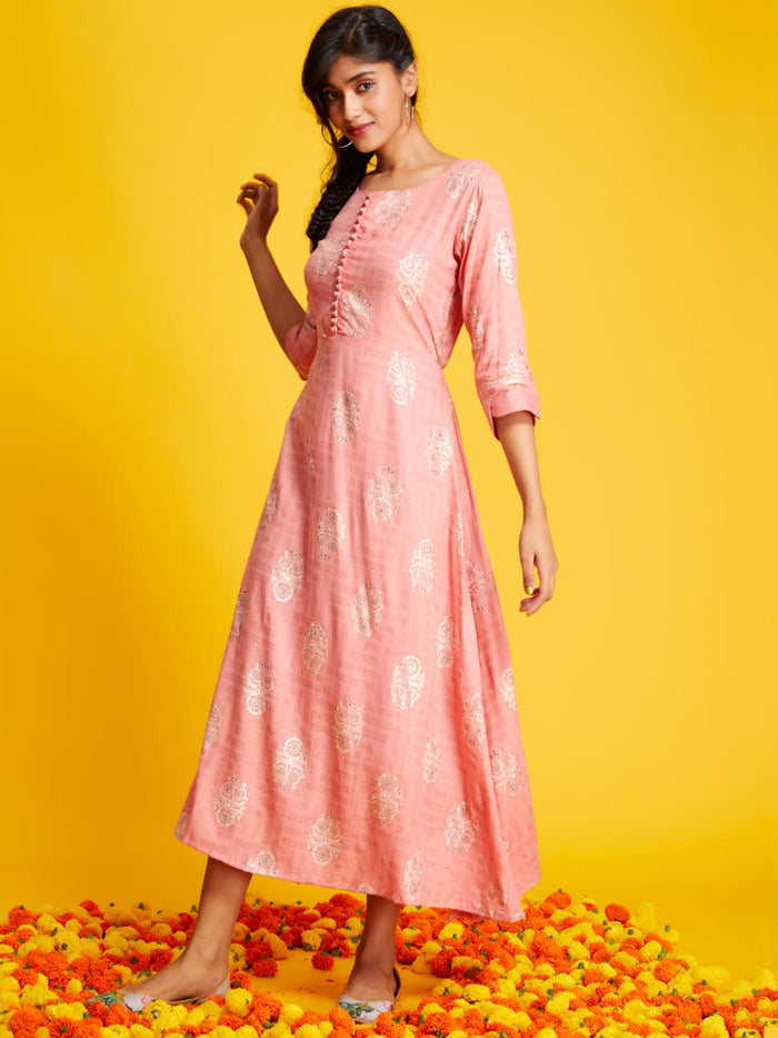 Left Side Printed Rayon A-line Kurti With Peach Colour