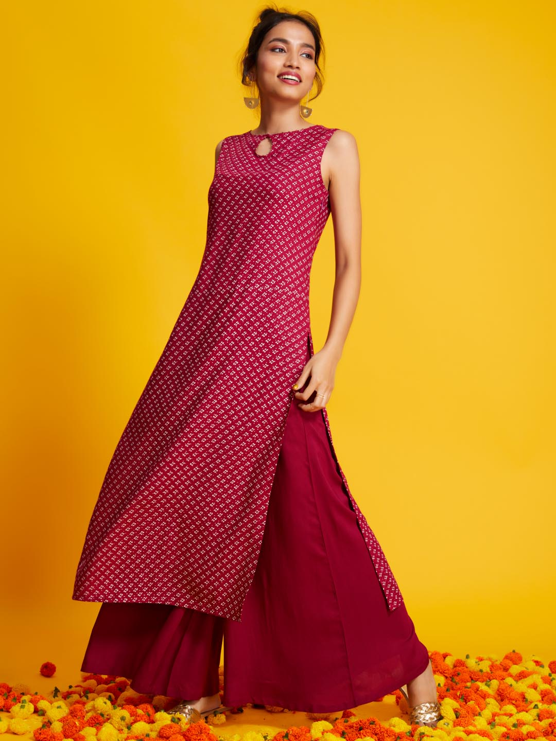 Left Side Printed Rayon Straight Kurta set With Pink Colour