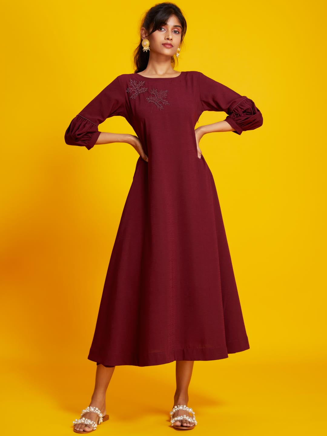 Front Side Solid Parmanu A-line Dress With Red Colour