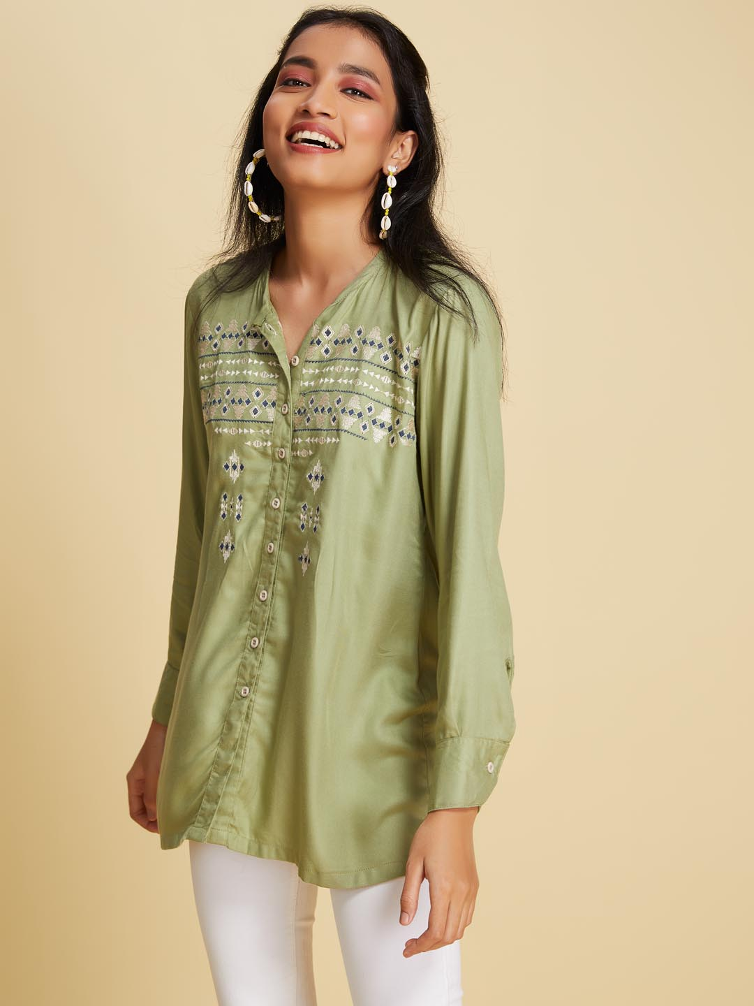 Front Side Olive Green Embroidered Viscose Rayon A Line Tunic