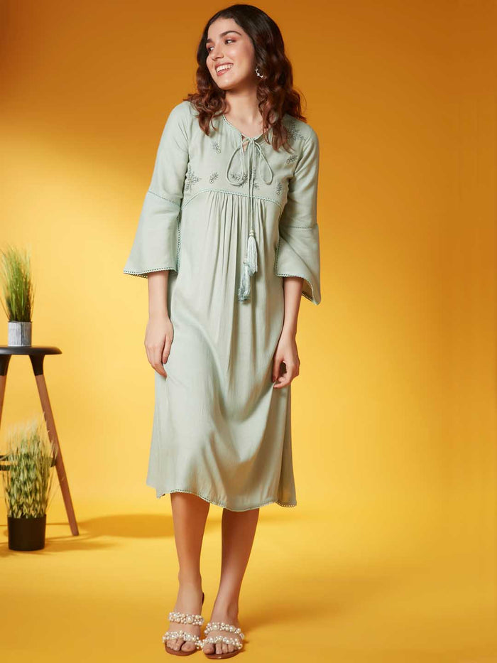 Pista Solid Viscose Rayon A Line Dress