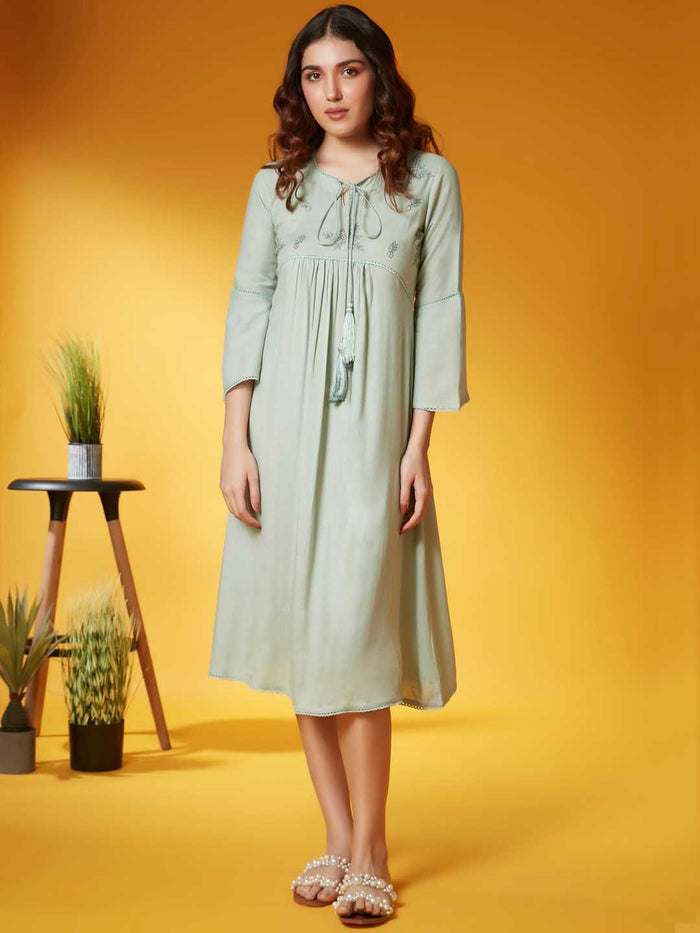 Front Side Pista Solid Viscose Rayon A Line Dress
