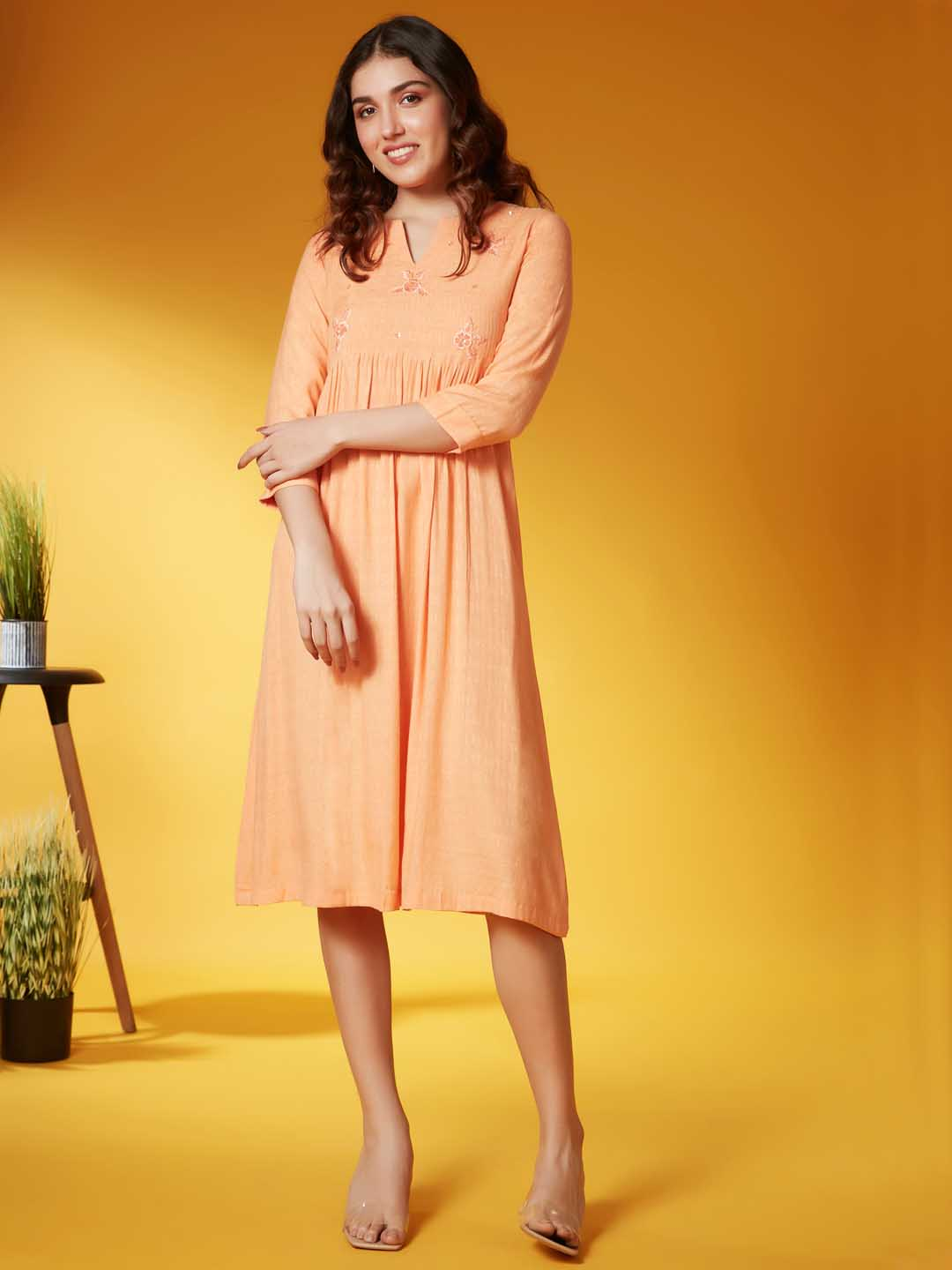 Front Side Orange Embroidered Viscose Rayon A Line Dress