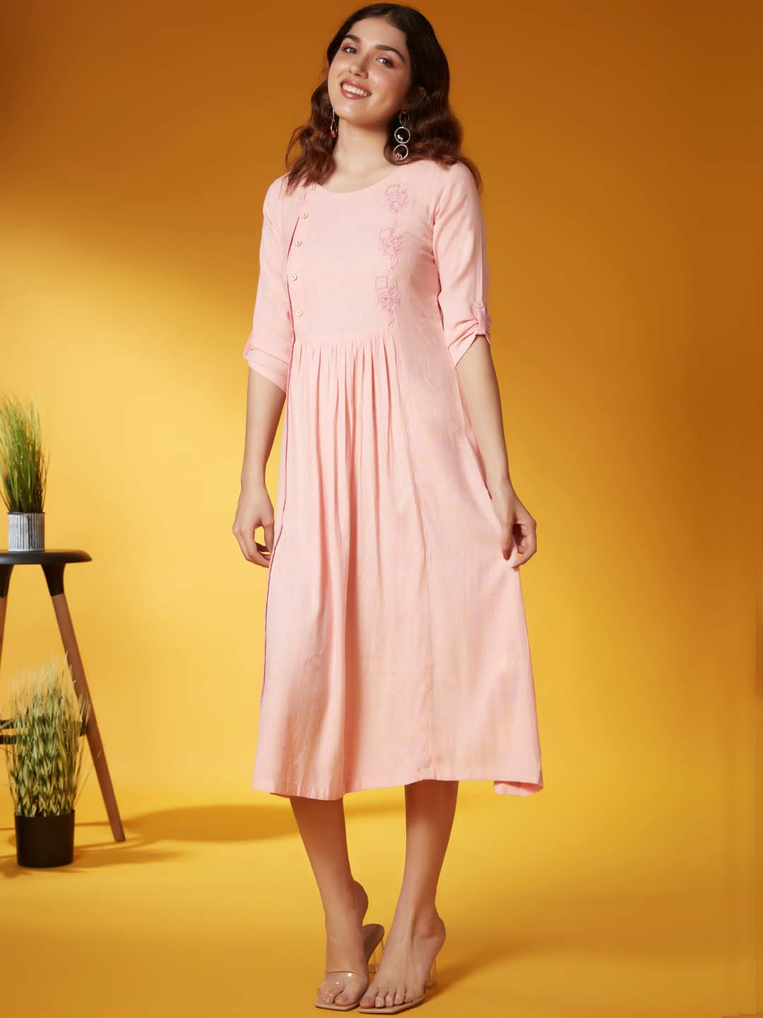 Front Side Light Pink Embroidered Viscose Rayon A Line Dress