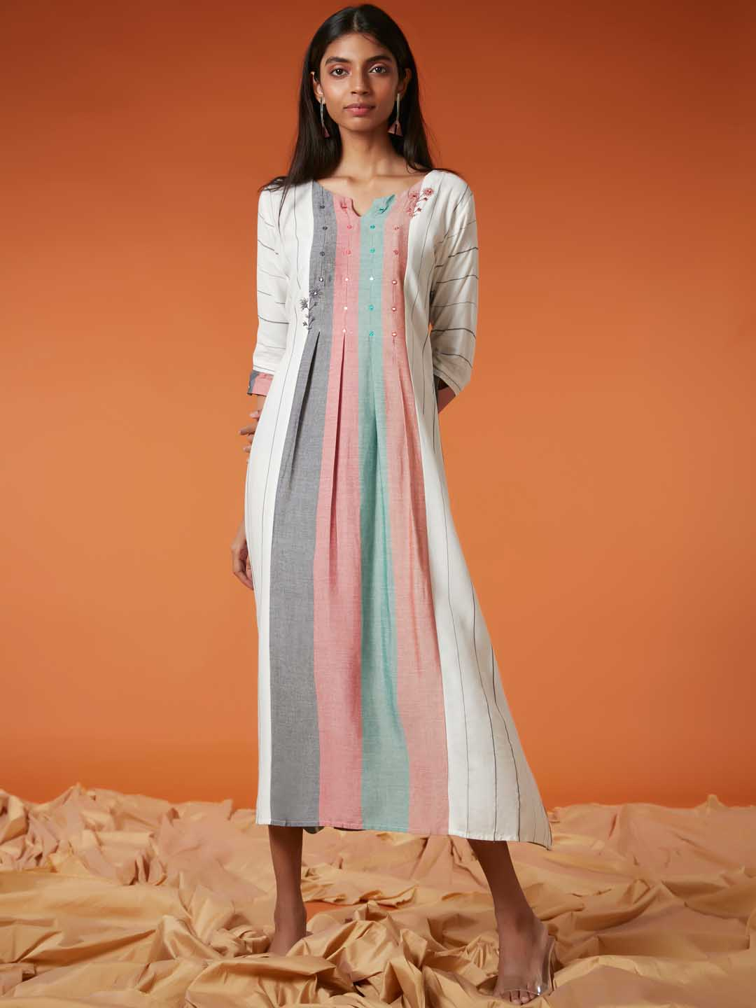 Front Side White Printed Viscose Cotton A Line Dress