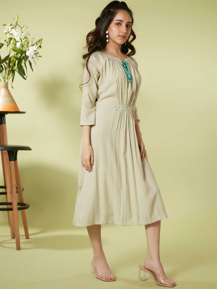 Right Side Beige Embroidered Viscose Rayon A Line Dress