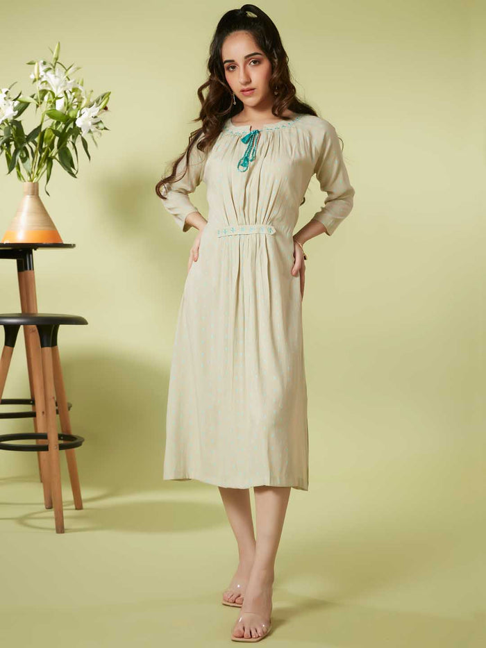 Front Side Beige Embroidered Viscose Rayon A Line Dress