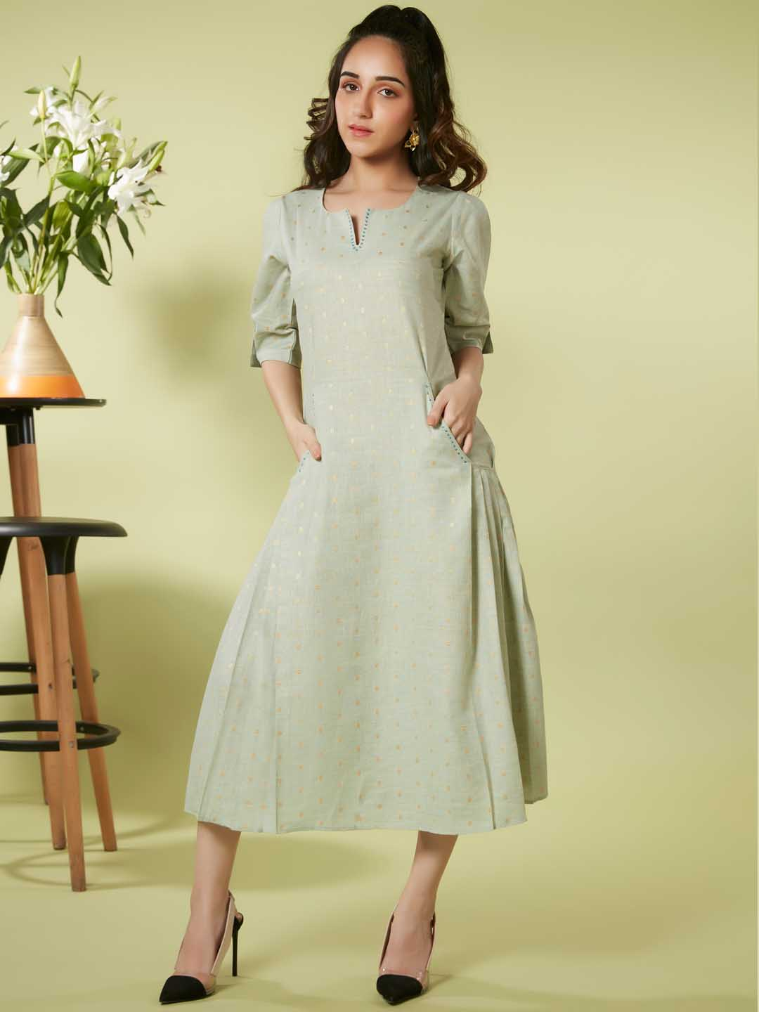 Front Side Light Green Embroidered Viscose Cotton A Line Dress