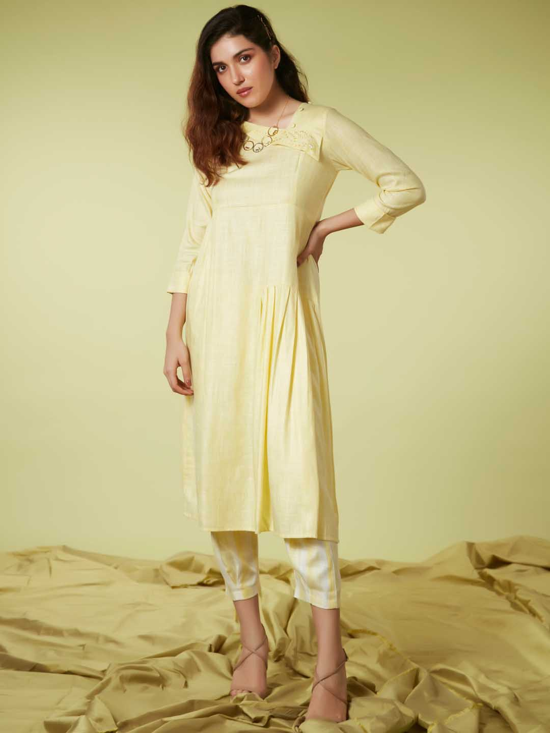 Left Side Yellow Embroidered Viscose Rayon A Line Kurta Set