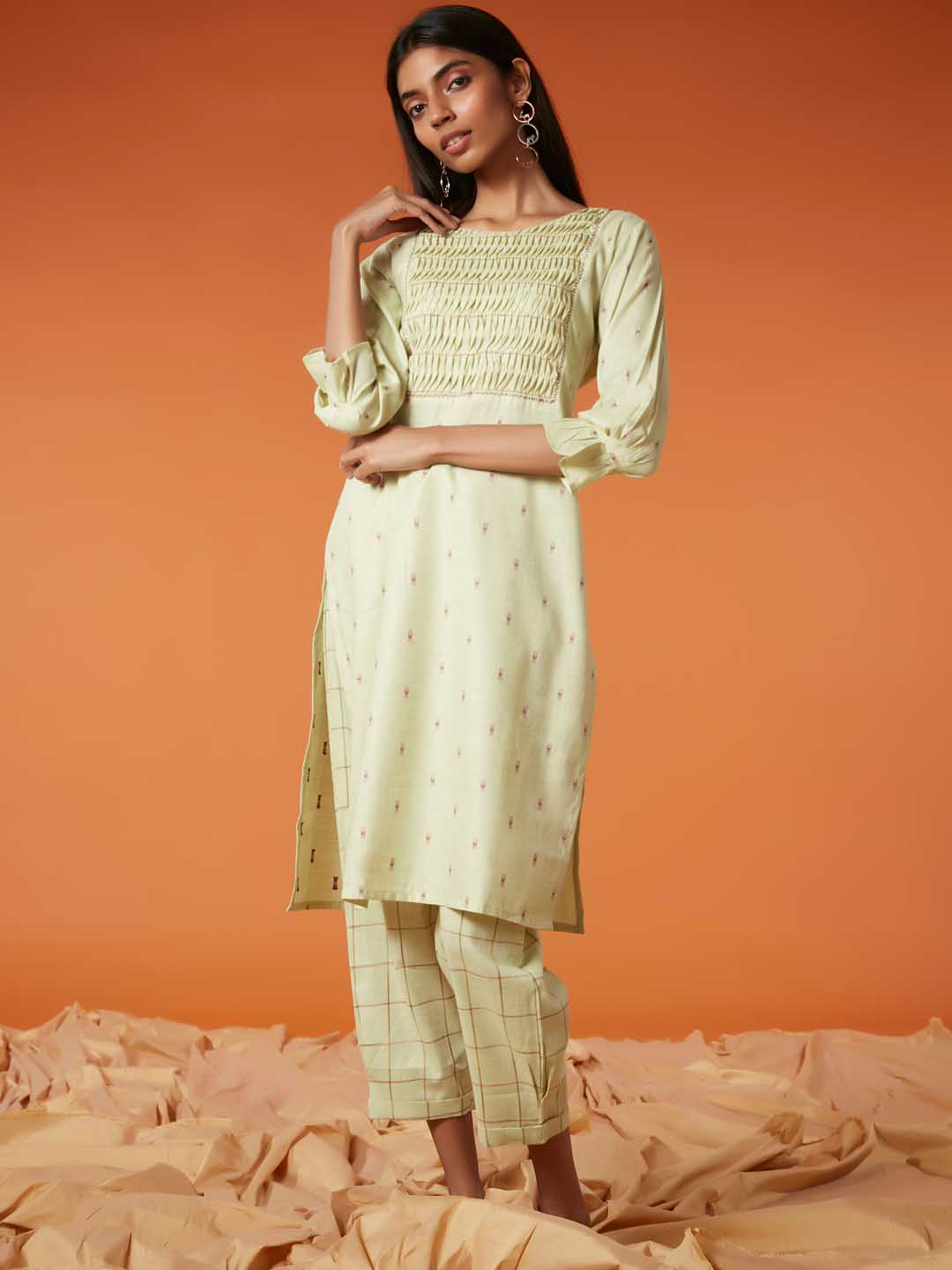 Front Side Pista Green Embroidered Viscose Cotton Straight Kurta Set