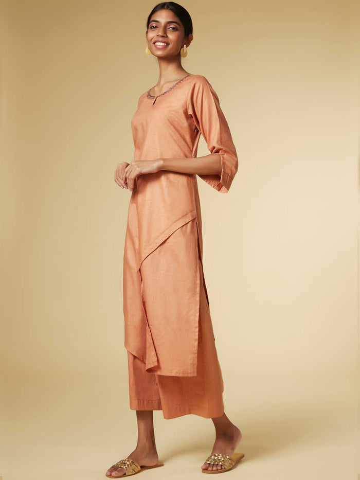 Rust Embroidered Viscose Straight Kurta Set