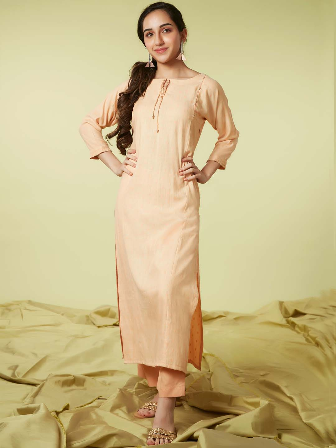 Front Side Light Peach Embroidered Viscose Rayon Straight Kurta Set