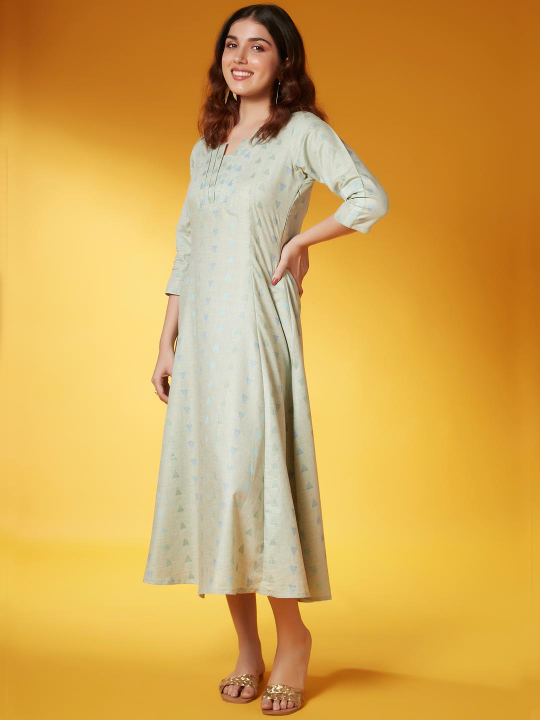 Left Side Light Green Weaved Fabric Viscose Cotton A Line Dress
