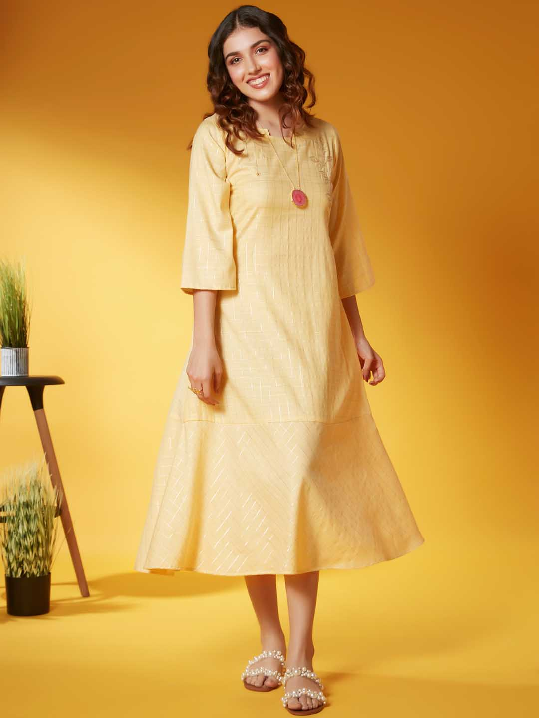 Front Side Yellow Solid With Lurex Weave Viscose A Line Dress
