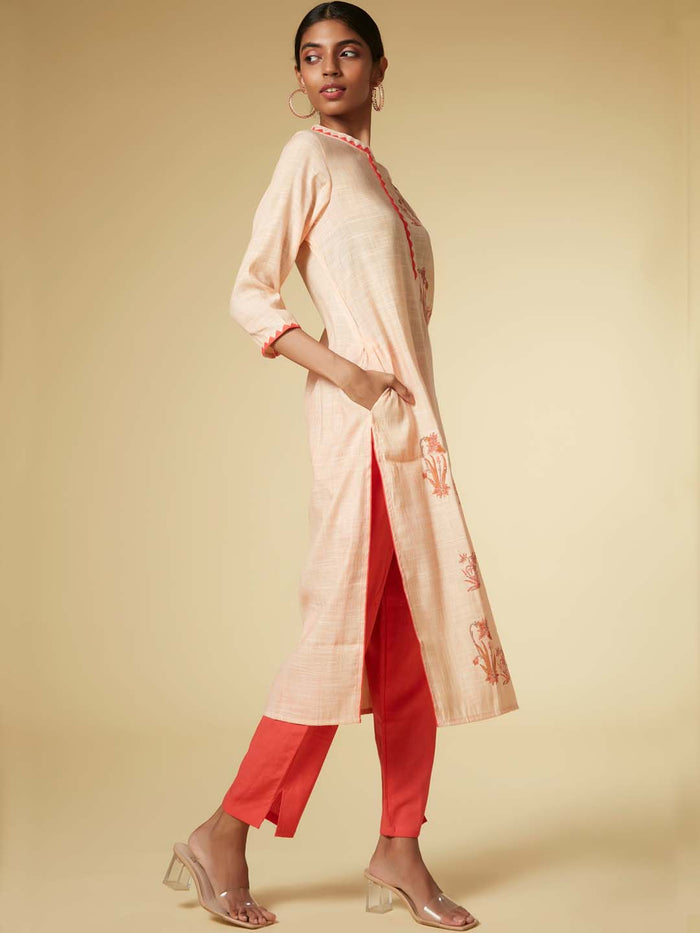 Peach Kurta With Dark Peach Pant Printed Viscose Cotton Straight Kurta Set