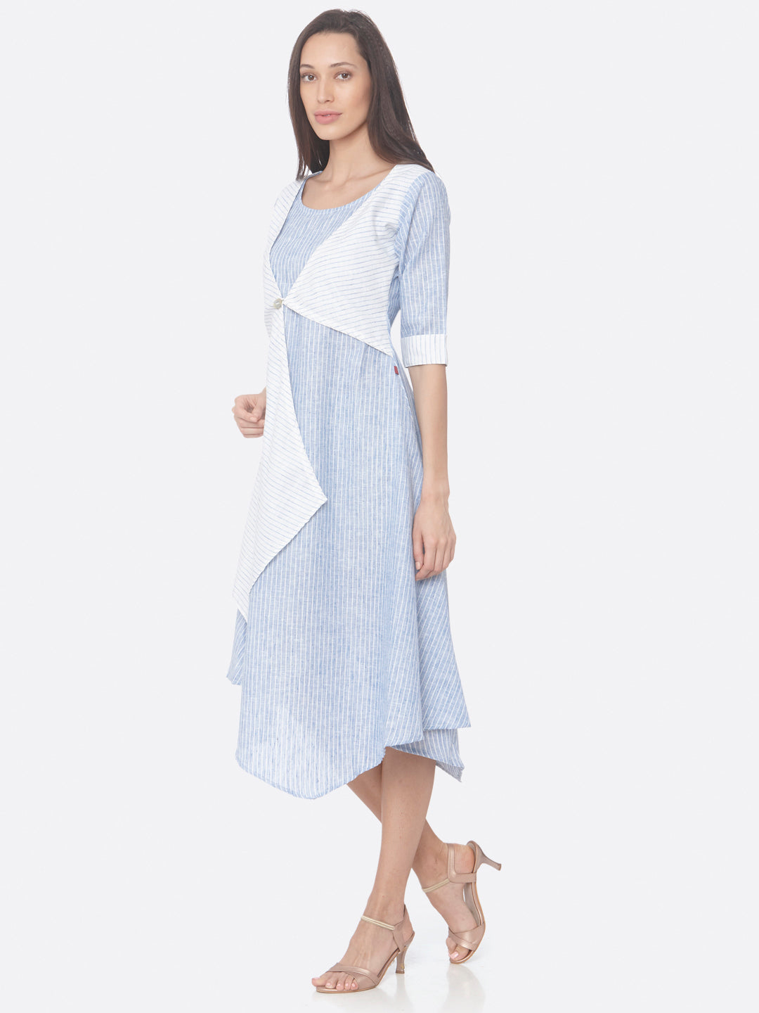 Left Side Blue Printed Weave Cotton Flared Dress