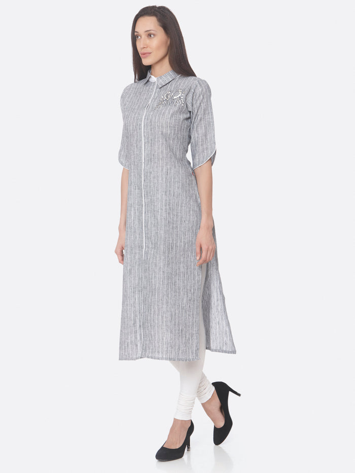 Left Side Grey Embroidered Viscose Cotton Straight Kurti