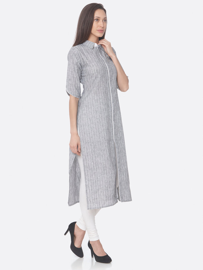 Right Side Grey Embroidered Viscose Cotton Straight Kurti