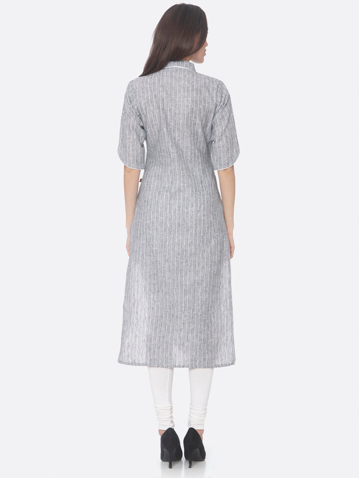 Back Side Grey Embroidered Viscose Cotton Straight Kurti