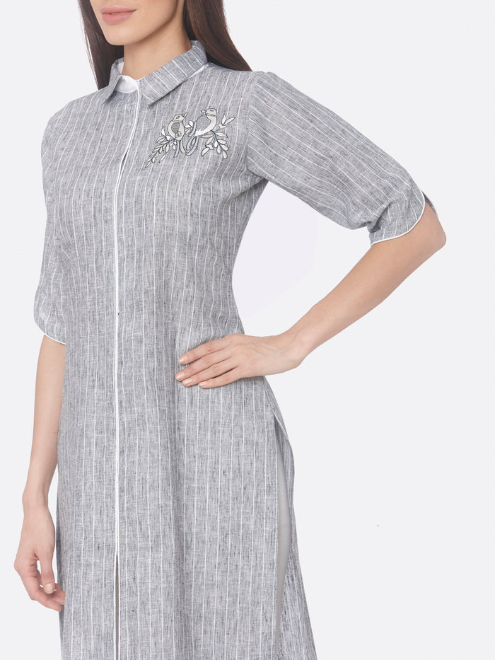 Evening wear Grey Embroidered Viscose Cotton Straight Kurti